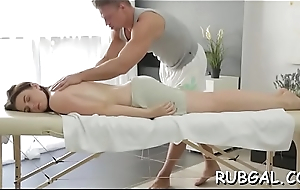 Oiled gal offers her pussy for a stunning sex act