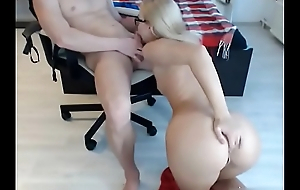 Naughty blonde sucking dick on webcam - more at AngelzLive.com