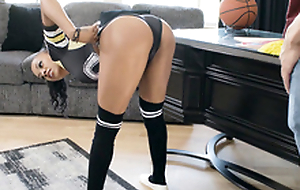 Cheerleader Anya Ivy can't help but jump, jiggle and giggle