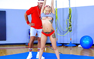 Hot chick Marsha May does exercises under control of strict teacher