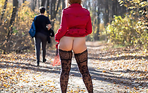 Public flashing and blowjob roughly autumn park