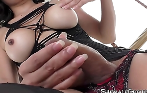 Luscious ladyboy Maple doggystyled and sucked off
