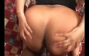 Horny stud bangs sexy ass black babe Evonnah then lets her taste cum